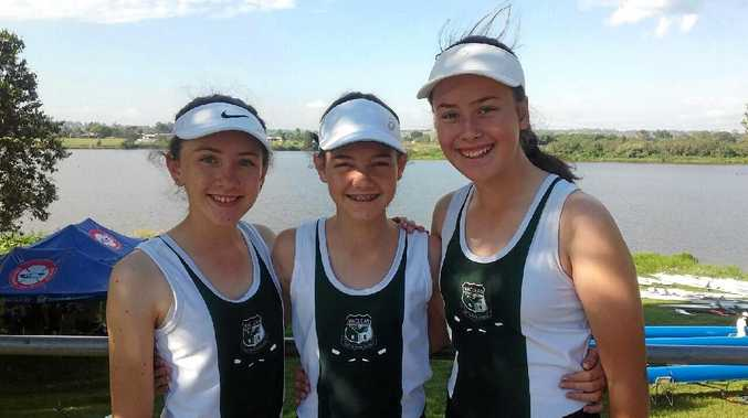 MAIDEN VOYAGE: Maclean High trio Aimee Jeffrey, April Shannon and Ashley Luland competed in their first regatta at the Head of the Clarence River Regatta.