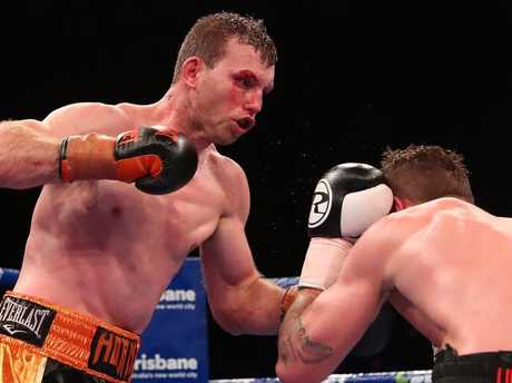 Jeff Horn (left) in action against Gary Corcoran on Wednesday night.