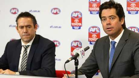 Simon Lethlean with AFL CEO Gillon McLachlan. Picture: Getty Images