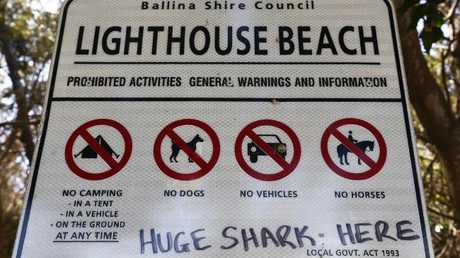 Lighthouse Beach, Ballina sign. Picture: Jason O'Brien