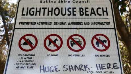 Lighthouse Beach, Ballina sign. Picture: Jason O'Brien