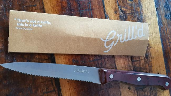 Paul Hogan is suing burger chain Grill'd over the use of his catchphrase on their cutlery.
