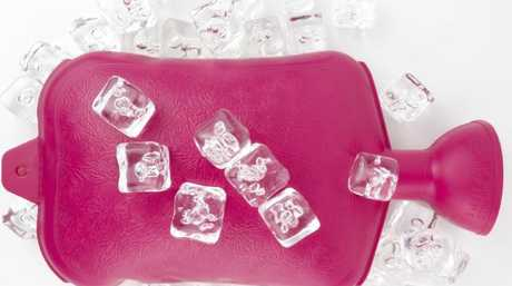 Fill up a hot water bottle and pop in the freezer. It doubles as a 'bed safe' icepack