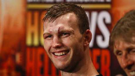 WBO world welterweight champion Jeff Horn at the press conference following his win over Gary Corcoran in Brisbane on Wednesday night.
