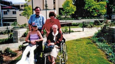 Clare with her parents and great aunt when they visited her in hospital.