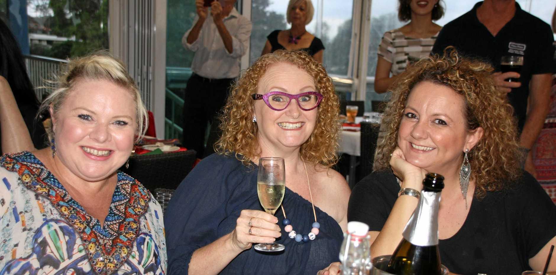 HERE'S CHEERS TO 2017: Katrina Harvey, Cath Galloway and Sharon Fitness at Sunshine Coast Oriana Choir's Christmas dinner at Headland Golf Club, Buderim.
