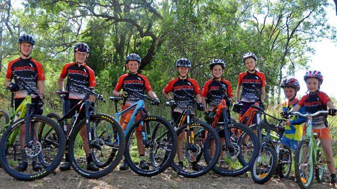 WHEELY GOOD: Ben Weier, Jacob and Dylan Provan, Matt Weier, Jacob Slatter, Lucca Turton, Jack Weier and Sorren Turton of South Burnett Mountain Bike Club.