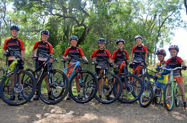 WHEELY GOOD: Ben Weier, Jacob and Dylan Provan, Matt Weier, Jacob Slatter, Lucca Turton, Jack Weier and Sorren Turton of South Burnett Mountain Bike Club.