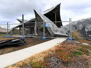 IN RUINS: Joan Nicoll Tennis Centre after it was recently gutted by fire..