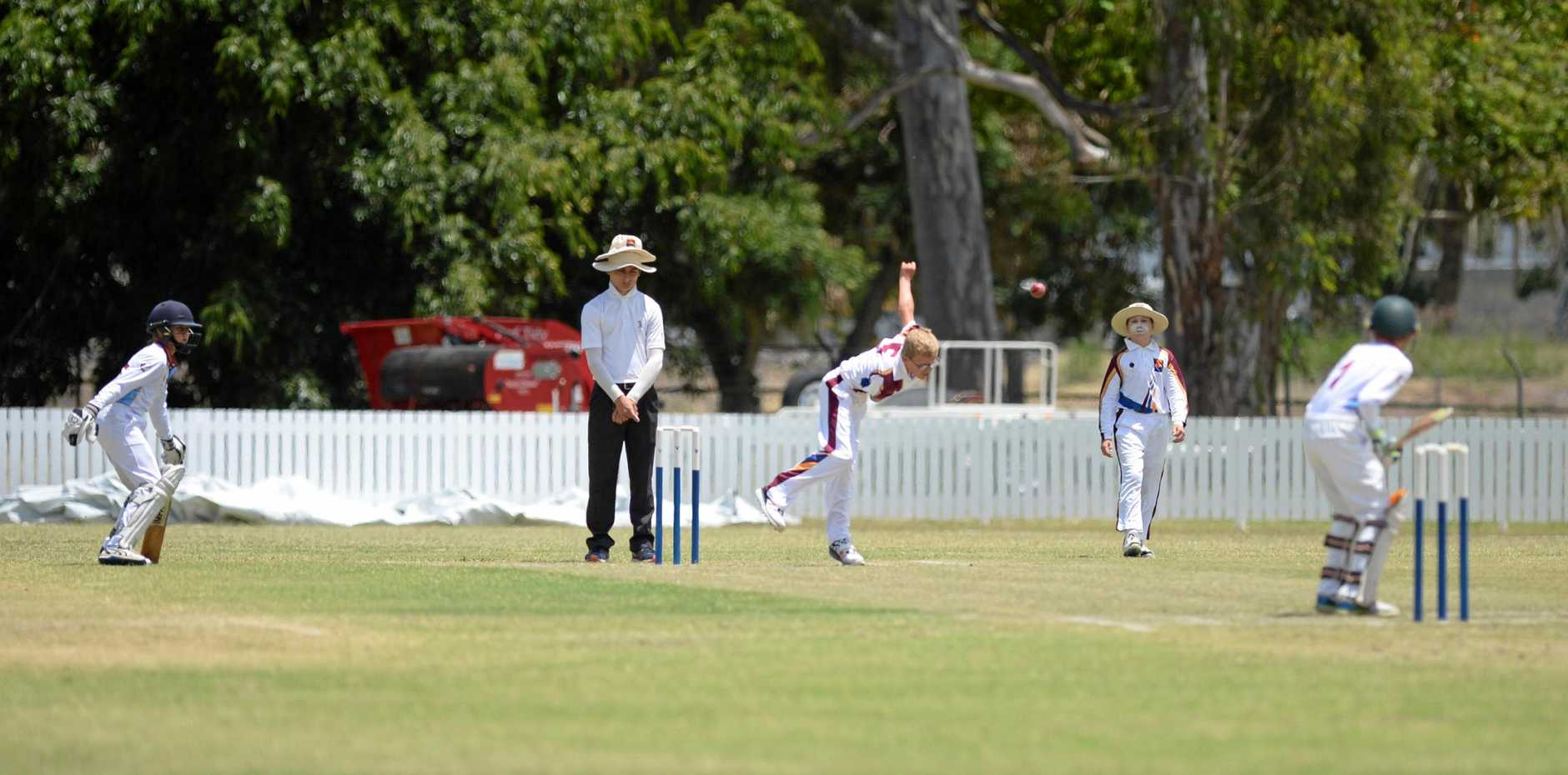 Brisbane North's Ed Kasprowicz sends a delivery down against Central Queensland at the Rockhampton Cricket Ground.