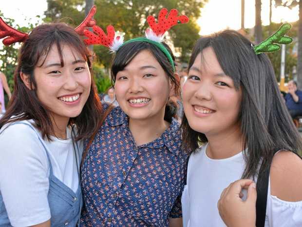 Saya Hikita, Fubuki Mizuta and Kate Kawashima having some fun at the 2017 Gatton Christmas Carnival.