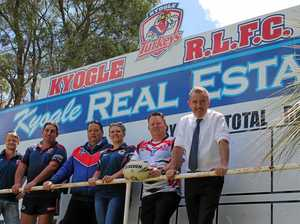PICTURE: Page MP Kevin Hogan, right, with Kyogle rugby league club representatives during the funding announcement this week.