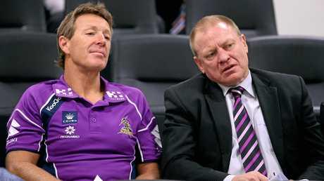 Dennis Watt (right) with Melbourne Storm coach Craig Bellamy.