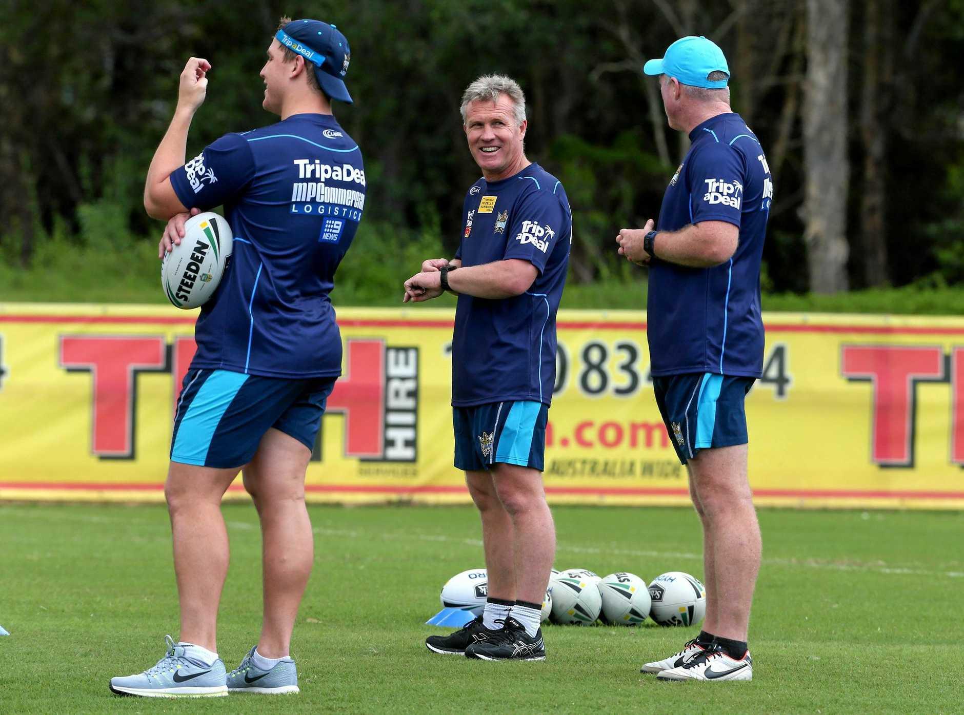 Gold Coast Titans coach Garth Brennan has a laugh at training.