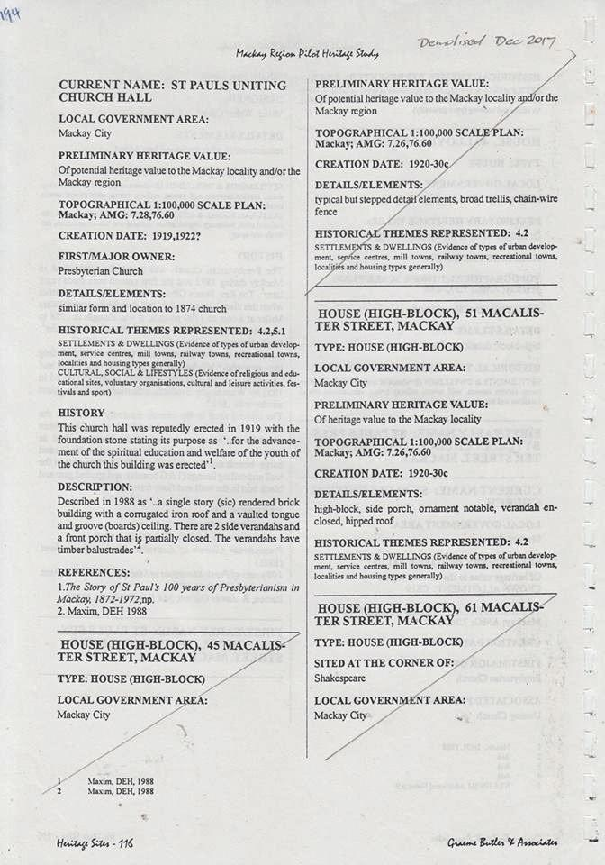 A page taken from the  1994 ' Mackay Region Pilot Heritage Study'