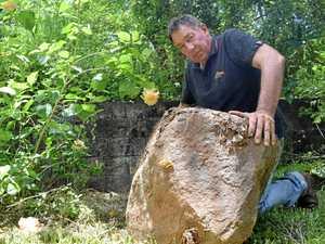 Boulders crash through Nindaroo man's yard