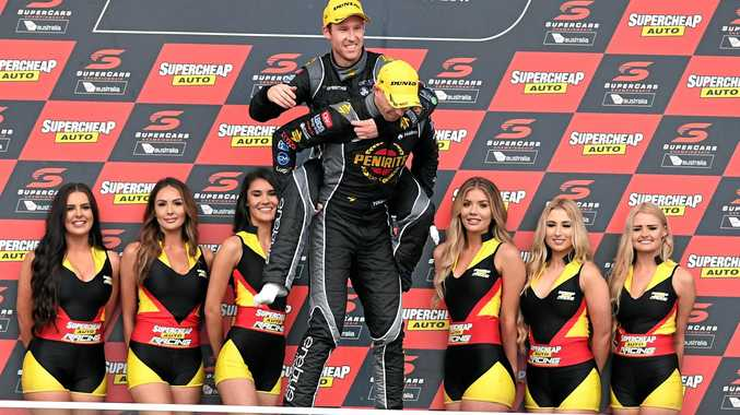 Luke Youlden (right) and co-driver David Reynolds celebrate their win at Bathurst.