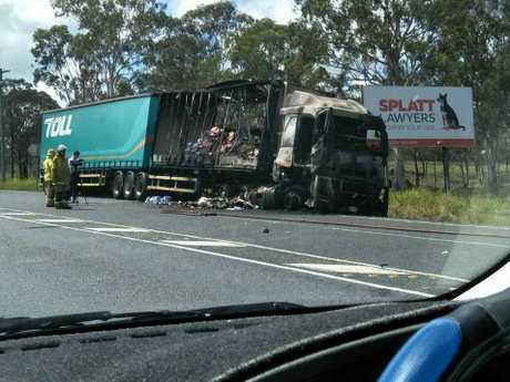 BURNT-OUT: The truck on the Bruce Hwy after the fire was extinguished.