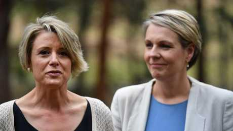 Ms Keneally appears with Deputy Leader of the Opposition Tanya Plibersek at Epping on Friday.