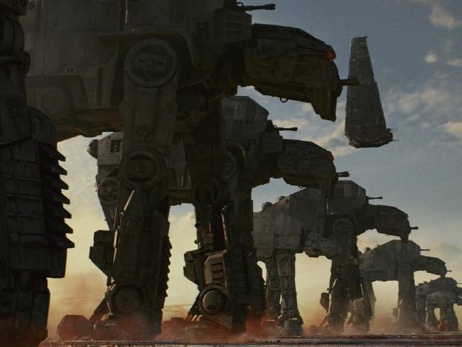 AT-M6 Walkers, along with Kylo Ren's Shuttle in The Last Jedi. Picture: Lucasfilm