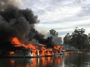 Epic blaze destroys 10 houseboats