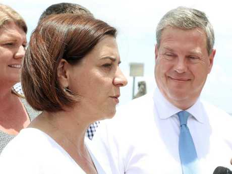 Opposition Leader Deb Frecklington with her predecessor Tim Nicholls