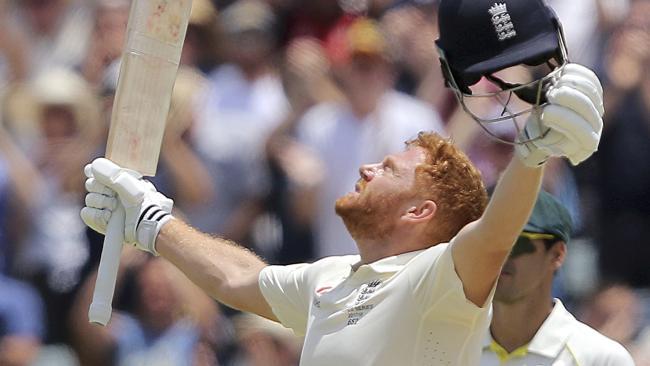 England's Jonny Bairstow celebrates his ton.