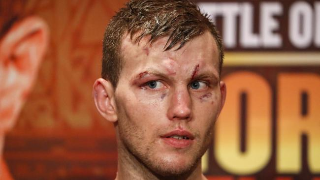 WBO World Welterweight Champion Jeff Horn at a press conference after his fight with UK boxer Gary Corcoran. (AAP Image/Glenn Hunt)