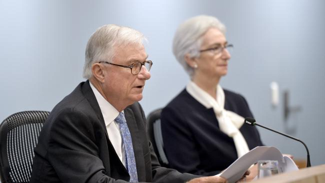 Commissioners Justice Peter McClellan and Justice Jennifer Coates at the final sitting of the Royal Commission into Institutional Responses to Child Sexual Abuse in Sydney on Thursday. Picture: AAP Image, supplied by the Royal Commission into Institutional Responses to Child Sexual Abuse.