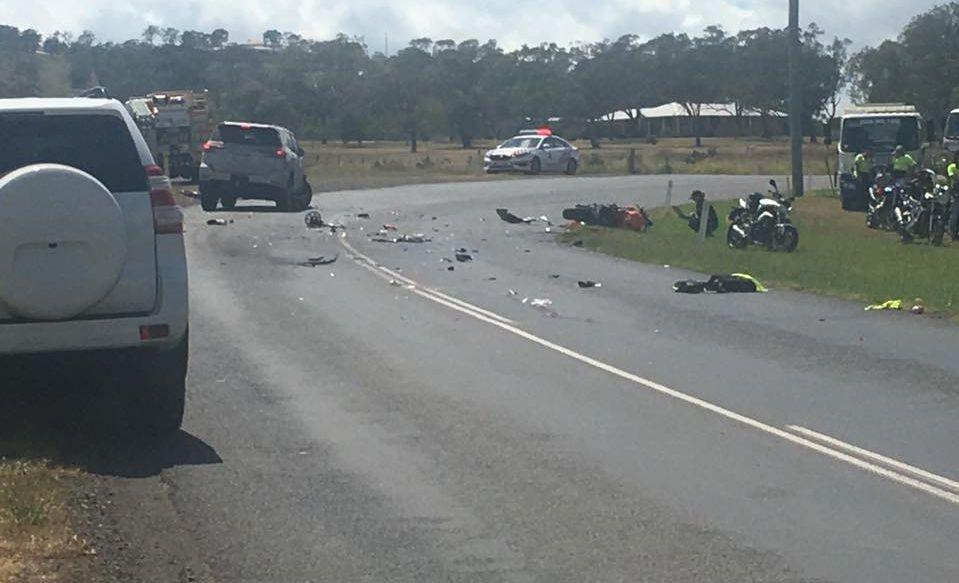 Crash on Drayton-Wellcamp Rd this morning. Photo: 7 News Toowoomba