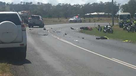 Crash on Drayton-Wellcamp Rd this morning. Photo: 7 News Toowoomba