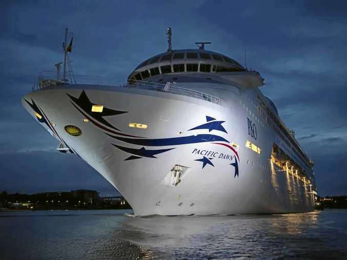 P&O Cruises' New-look Pacific Dawn Sails into Brisbane (port side).