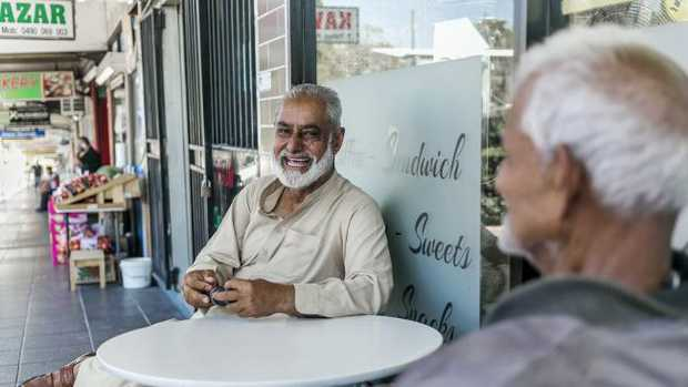Lebanese Muslim Mr Nazir laughs with his Catholic Fijian-Indian friend Mr Chinappa. Picture: Sarah Keayes
