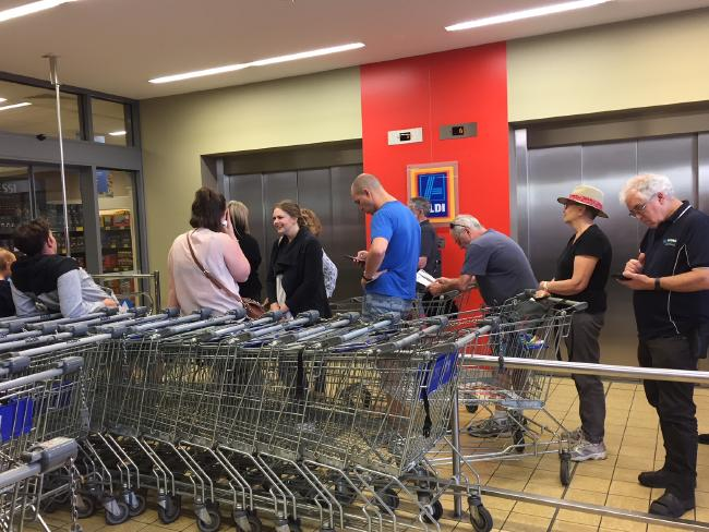 Customers in Brunswick, Victoria were allocated tickets for the Dyson. But some shoppers claim they couldn't exit the lifts because of the crowds.