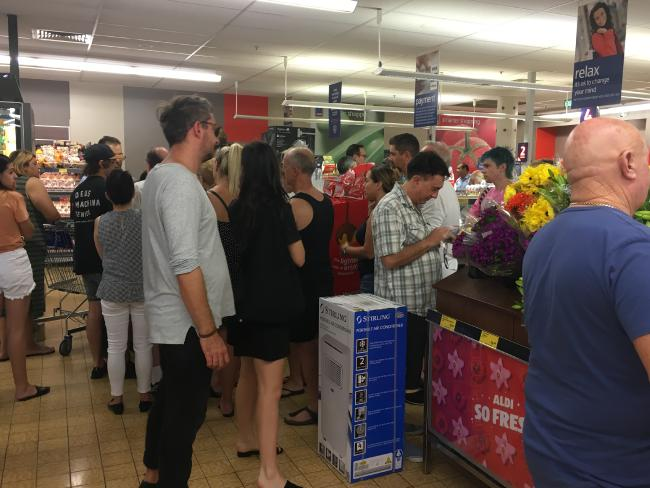 Crowds inside the Marrickville Aldi store.