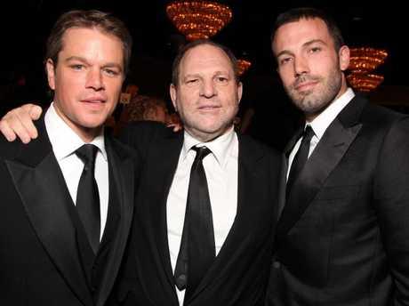 Matt Damon, Harvey Weinstein and Ben Affleck in 2010. Picture: Splash