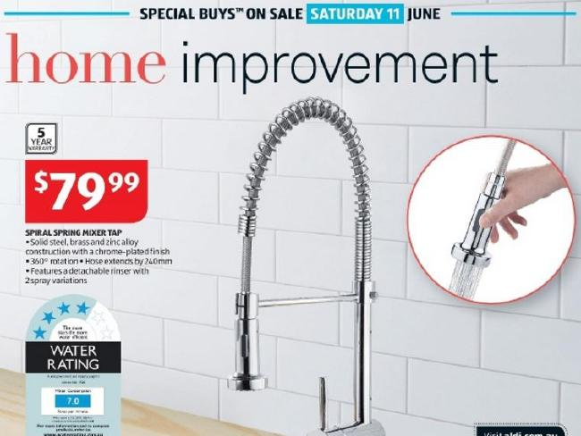 The Aldi tap found to put lead into water. Picture: Supplied