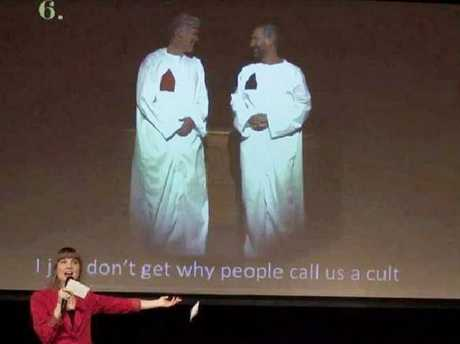 Nicki Clyne jokes about being a member of a cult at a Keith Raniere festival. Picture: Frank Report