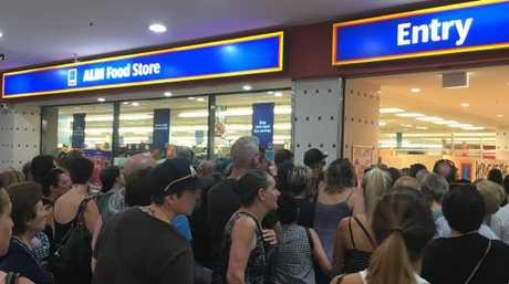 Chaos as doors open at Aldi in Marrickville