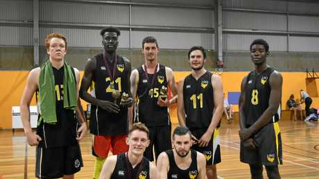 USQ Dragons A-grade premiers. (Back, from left) Josh Ozegovic, Paul Aleer, Will Mitchell, Ash Peters and Chris Kita. (Front, from left) Jack Gallagher and Bob Ashford.