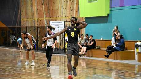 Chris Kita shows his delight after nailing a three for the USQ Dragons against the Warwick Wildcats in the Big Q grand final.