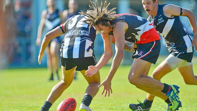 FEVERISH ATTACK: BITS' Kane Haua Against Rockhampton Panthers in this year's AFL Capricornia preliminary final.