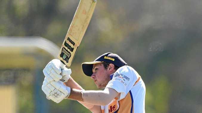 Hervey Bay cricket - Bushrangers (batting) v Honey Badgers (fielding). Nic Kelsey hits a century.