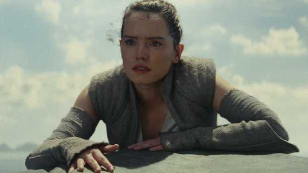 Rey (played by Daisy Ridley) in a scene from Star Wars: The Last Jedi.