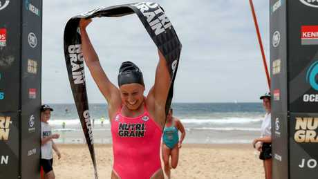Brielle Cooper wins round three of the Nutri-Grain Ironwoman Series at North Wollongong Beach. Picture: Shane Myers