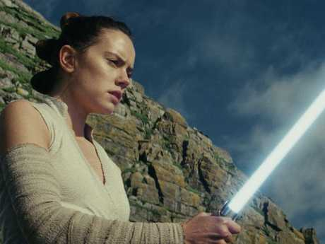 Rey, played by Daisy Ridley, in a scene from Star Wars: The Last Jedi.