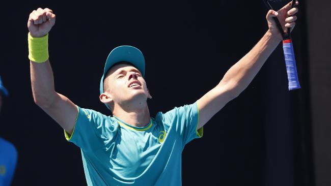 Alex de Minaur celebrates winning the Australian Open wildcard playoff. Picture: Michael Klein