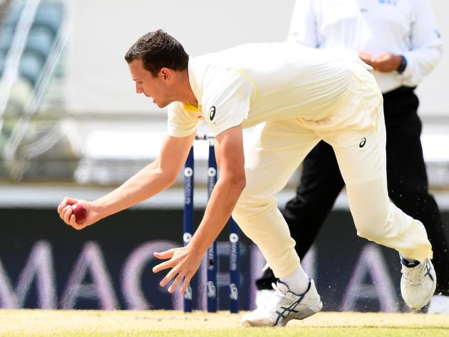 Josh Hazlewood took a screamer to dismiss Alastair Cook.