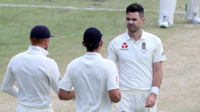 James Anderson dismisses Mitch Marsh but it's been a tough Test for England's bowlers. Picture: AAP
