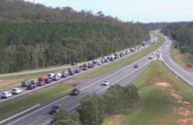 Traffic congestion near the scene of a  Bruce Highway crash on the Sunshine Coast.